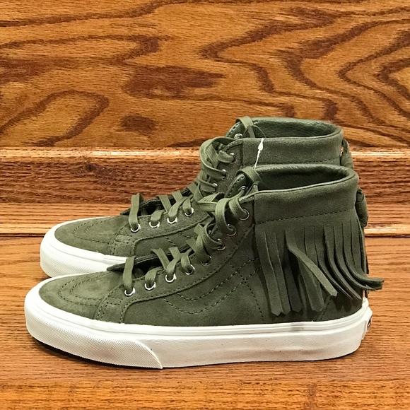 423c144964 Vans Sk8 Hi Slim Moc Suede Ivy Green Blanc Shoes